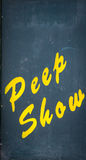 Peep show sign. Notice board for a peep show in Europe Royalty Free Stock Images