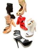 Peep toe booties stilettos fashion still life composition. On white background Stock Image