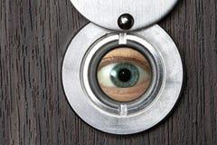 Peephole with eye horizontally royalty free stock image