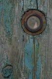 Peephole w drzwi stary Zdjęcie Stock