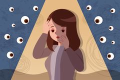 Peeping and bullying concept stock illustration