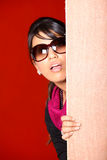 Peeping girl Stock Photography