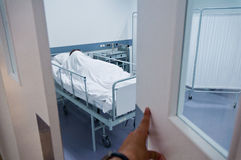 Peeping into patient's hospital room Royalty Free Stock Photography