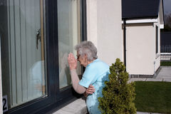 Peeping pensioner Royalty Free Stock Images