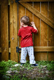 Peeping Toddler. A small peeping toddler peers out of a hole in the fence at the world beyond his backyard stock photography