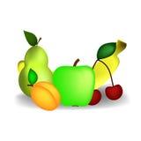 Peer, Apple, kers, banaan en abrikoos Stock Foto