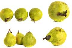 Peer op een witte achtergrond sappige heldergroene en gele peren op geïsoleerde achtergrond royalty-vrije stock afbeeldingen
