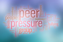 Peer pressure word cloud with abstract background Royalty Free Stock Image