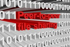 Peer-to-peer file sharing. In the form of binary code, 3D illustration Royalty Free Stock Photo