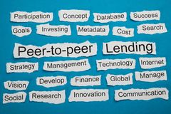Peer-to-peer and lending text on piece of torn paper Royalty Free Stock Images