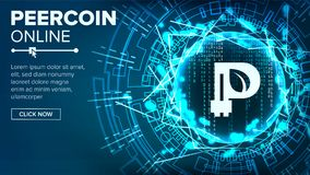 Peercoin Abstract Technology Background Vector. Binary Code. Fintech Blockchain. Cryptography. Cryptocurrency Mining Royalty Free Stock Image