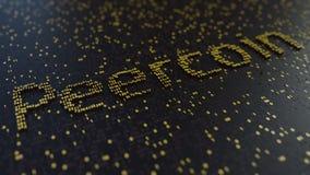 Peercoin słowo robić ruszać się złote liczby Cryptocurrency transakcje lub kopalnictwo odnosić sie konceptualnego 3D rendering Zdjęcie Stock