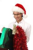 peering человека подарка рождества Стоковые Изображения RF