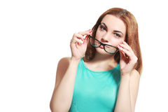 Peering Over Glasses Royalty Free Stock Images