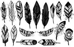 Peerless племенной дизайн иллюстрации вектора декоративного черного силуэта пер установленной иллюстрация вектора
