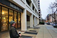Peet`s Washington D.C. single customer during government shutdown stock photos