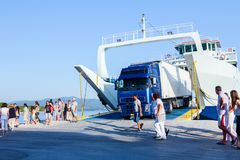 Lorry truck is exit from ferryboat, unloading Royalty Free Stock Photography