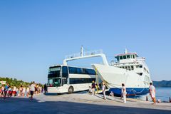 Bus is exit from ferryboat, unloading Stock Photos