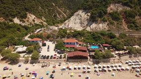 Pefkoulia海滩,莱夫卡斯州,希腊空中录影  股票录像