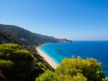 Pefkoulia strand på Lefkada Royaltyfria Foton