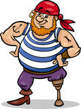 Peg leg pirate cartoon illustration. Cartoon Illustration of Funny Pirate Officer with Peg Leg Royalty Free Stock Photography