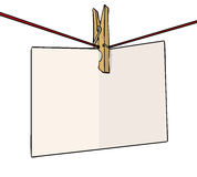 Peg note. Peg on a line with blank note Stock Image