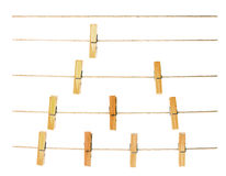 Peg on rope. Collection of peg on rope ,white background Stock Image