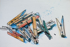 Peg sketch. Done by myself with watercolor Stock Images