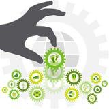 Pegada ambiental colocada em uma corrente de bio ícones do eco pelo th Fotos de Stock Royalty Free