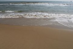 Pegada da areia da praia de Paradise na areia imagens de stock