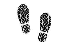 Pegada da sapata com teste padrão do passo do pneu Foto de Stock
