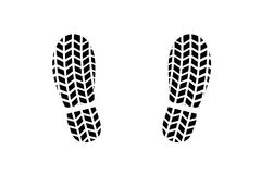 Pegada da sapata com teste padrão do passo do pneu Fotos de Stock Royalty Free