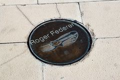 Pegada de Roger Federer Fotografia de Stock Royalty Free
