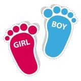 Pegada do bebê - ícones do esboço da menina e do menino com sombra Imagem de Stock Royalty Free