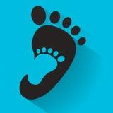 Pegada do bebê no ícone adulto do pé Caçoa o ícone da loja de sapatas Sinal da família Símbolo do pai e da criança Emblema da ado Imagens de Stock Royalty Free