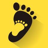 Pegada do bebê no ícone adulto do pé Caçoa o ícone da loja de sapatas Sinal da família Símbolo do pai e da criança Emblema da ado Foto de Stock