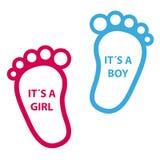 Pegada do bebê sua uma menina, sua um menino - ícones do vetor Fotos de Stock