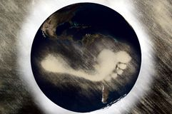 Pegada do carbono no planeta Fotos de Stock