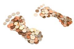 Pegada e custos do combustível foto de stock