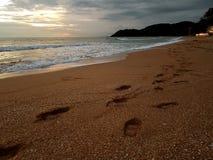 Pegada na praia Imagem de Stock