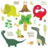 A pegada, o vulcão, a palmeira e outro do dinossauro projetam elementos Ilustração do Vetor
