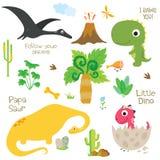 A pegada, o vulcão, a palmeira e outro do dinossauro projetam elementos ilustração stock