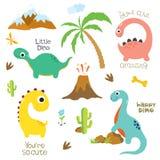 Pegada, vulcão, palmeira, pedras, osso e cacto do dinossauro ilustração do vetor