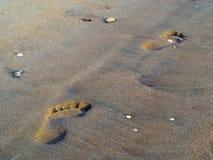 Pegadas da areia Fotos de Stock