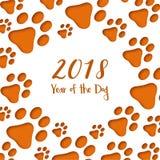 Pegadas do cão do corte do papel Cartão chinês feliz do ano novo ilustração stock