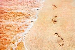 Pegadas dos povos em uma areia cor-de-rosa dourada nas ondas macias da costa de mar da cor cor-de-rosa Fim criativo marinho do fu Fotografia de Stock Royalty Free