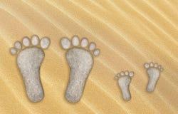 Pegadas grandes e pequenas, isoladas Foto de Stock Royalty Free