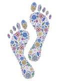 Pegadas humanas florais Imagens de Stock Royalty Free