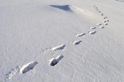 Pegadas humanas na neve profunda Fotografia de Stock Royalty Free