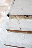 Pegadas humanas nas escadas nevado Imagens de Stock Royalty Free
